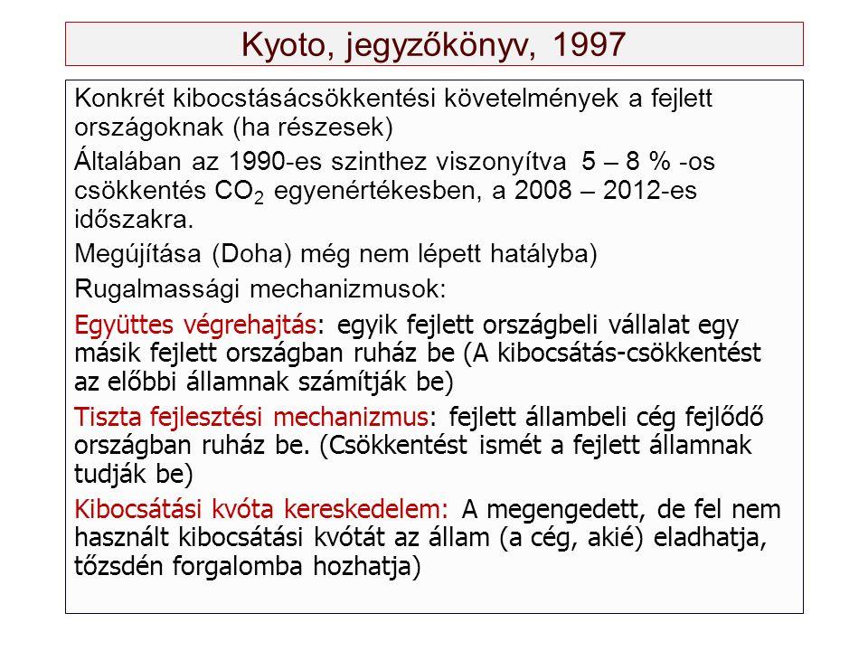 Kyoto, jegyzőkönyv, 1997 Konkrét kibocstásácsökkentési követelmények a fejlett országoknak (ha részesek) Általában az 1990-es szinthez viszonyítva 5 – 8 % -os csökkentés CO 2 egyenértékesben, a 2008 – 2012-es időszakra.
