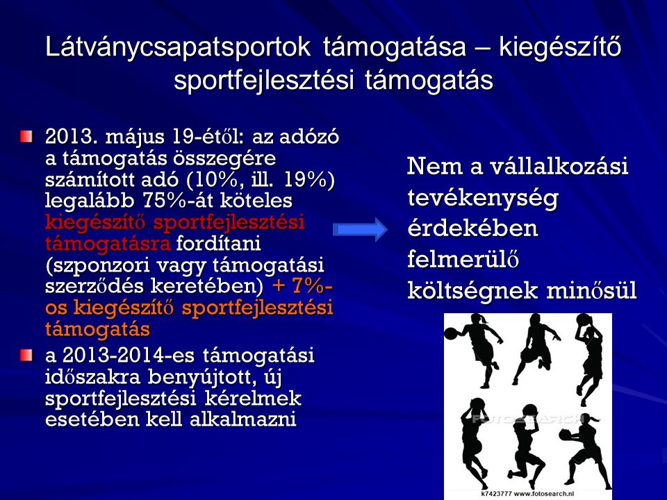 Látványcsapatsportok támogatása – kiegészítő sportfejlesztési támogatás 2013.