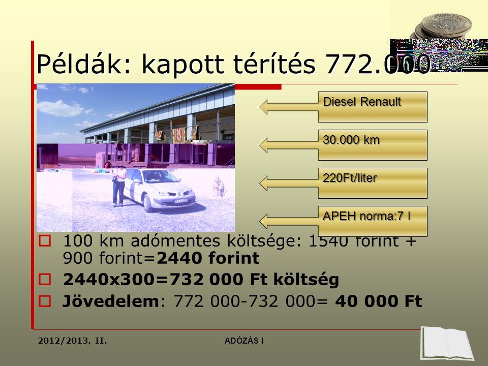 Példák: kapott térítés 772.000  100 km adómentes költsége: 1540 forint + 900 forint=2440 forint  2440x300=732 000 Ft költség  Jövedelem: 772 000-732 000= 40 000 Ft Diesel Renault 30.000 km 220Ft/liter APEH norma:7 l 2012/2013.