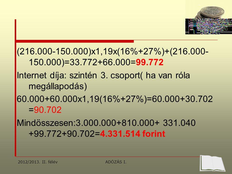 (216.000-150.000)x1,19x(16%+27%)+(216.000- 150.000)=33.772+66.000=99.772 Internet díja: szintén 3.