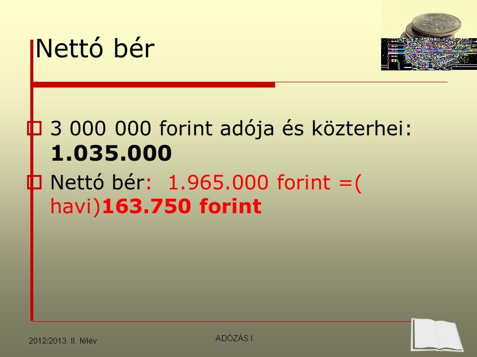 Nettó bér  3 000 000 forint adója és közterhei: 1.035.000  Nettó bér: 1.965.000 forint =( havi)163.750 forint 2012/2013.