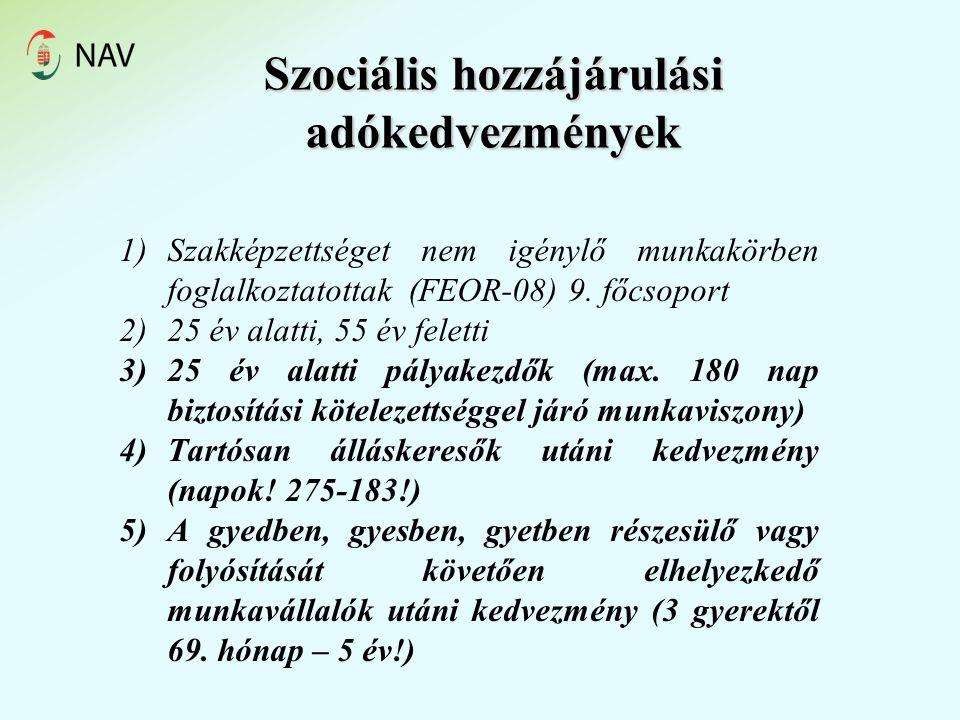 Szociális hozzájárulási adókedvezmények 1)Szakképzettséget nem igénylő munkakörben foglalkoztatottak (FEOR-08) 9.