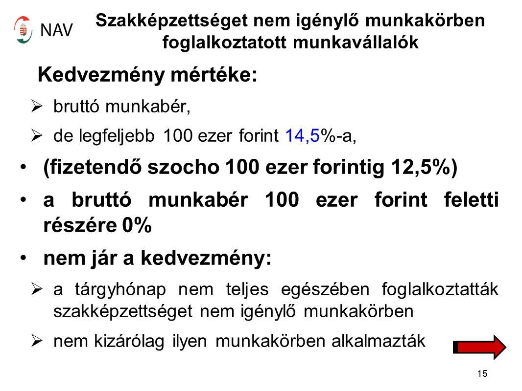 Szakképzettséget nem igénylő munkakörben foglalkoztatott munkavállalók Kedvezmény mértéke:  bruttó munkabér,  de legfeljebb 100 ezer forint 14,5%-a, (fizetendő szocho 100 ezer forintig 12,5%) a bruttó munkabér 100 ezer forint feletti részére 0% nem jár a kedvezmény:  a tárgyhónap nem teljes egészében foglalkoztatták szakképzettséget nem igénylő munkakörben  nem kizárólag ilyen munkakörben alkalmazták 15