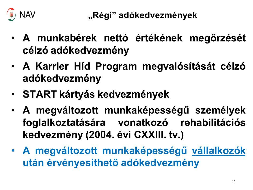"""""""Régi adókedvezmények A munkabérek nettó értékének megőrzését célzó adókedvezmény A Karrier Híd Program megvalósítását célzó adókedvezmény START kártyás kedvezmények A megváltozott munkaképességű személyek foglalkoztatására vonatkozó rehabilitációs kedvezmény (2004."""