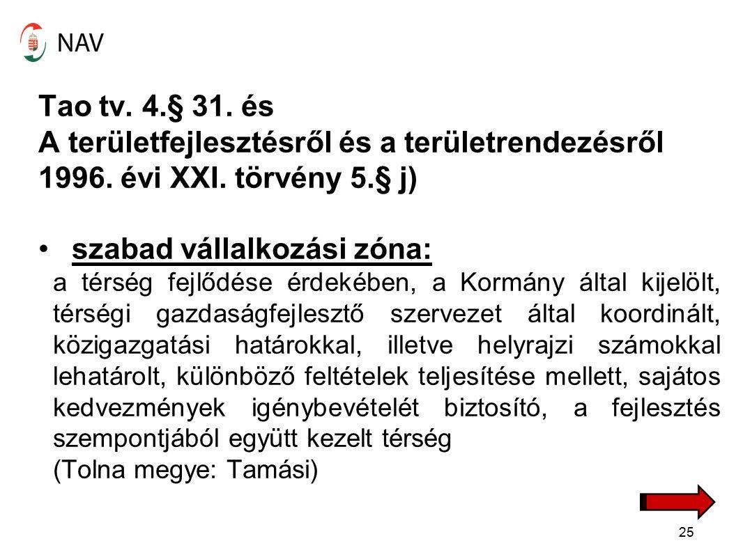 Tao tv. 4.§ 31. és A területfejlesztésről és a területrendezésről 1996.