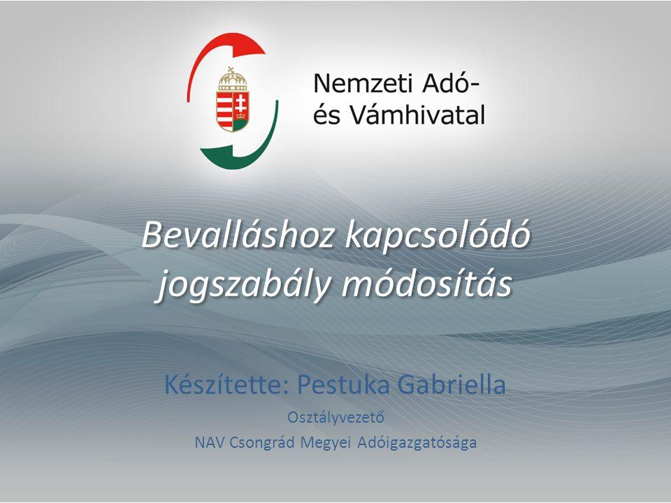 Bevalláshoz kapcsolódó jogszabály módosítás Készítette: Pestuka Gabriella Osztályvezető NAV Csongrád Megyei Adóigazgatósága