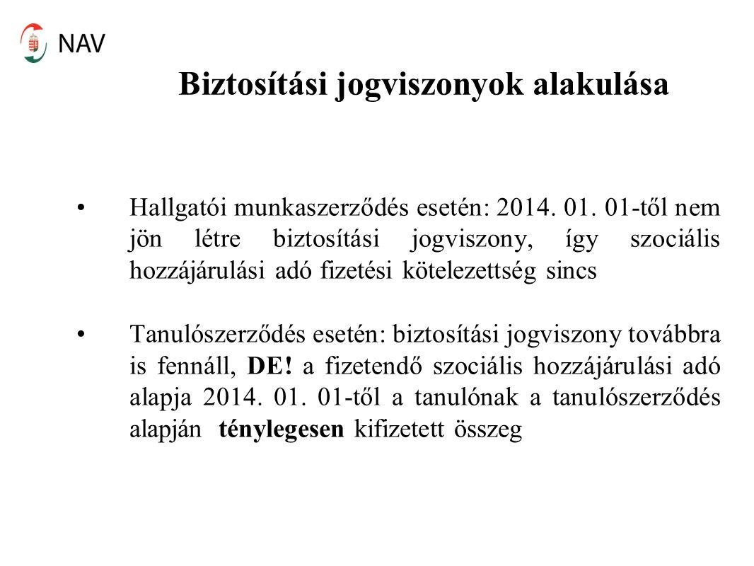 Biztosítási jogviszonyok alakulása Hallgatói munkaszerződés esetén: 2014. 01. 01-től nem jön létre biztosítási jogviszony, így szociális hozzájárulási