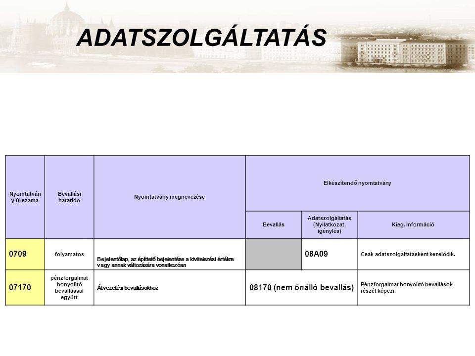ADATSZOLGÁLTATÁS Nyomtatván y új száma Bevallási határidő Nyomtatvány megnevezése Elkészítendő nyomtatvány Bevallás Adatszolgáltatás (Nyilatkozat, igé