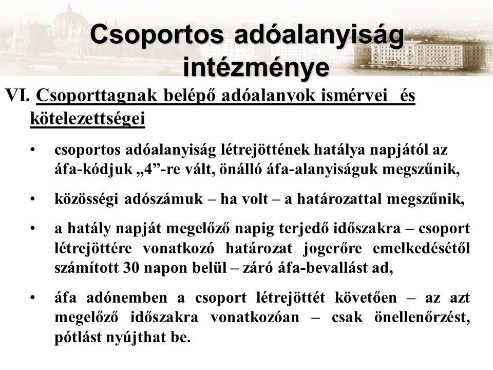 Csoportos adóalanyiság intézménye VI.