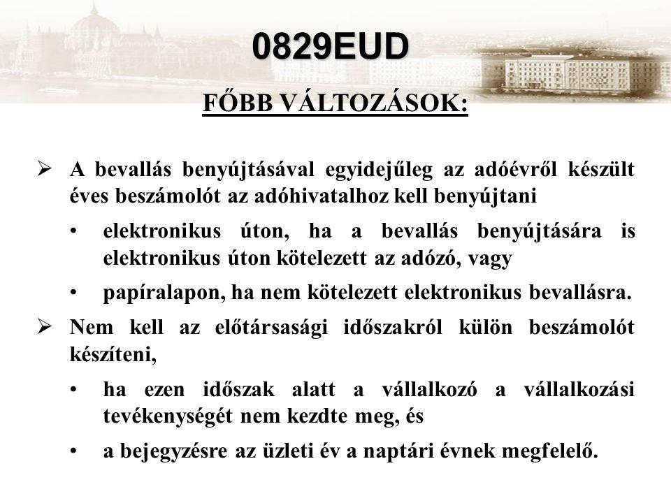 0829EUD FŐBB VÁLTOZÁSOK:  A bevallás benyújtásával egyidejűleg az adóévről készült éves beszámolót az adóhivatalhoz kell benyújtani elektronikus úton