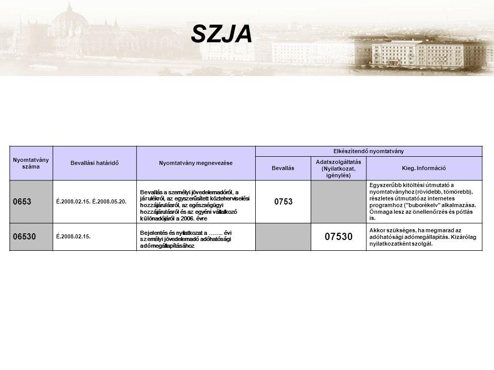 SZJA Nyomtatvány száma Bevallási határidőNyomtatvány megnevezése Elkészítendő nyomtatvány Bevallás Adatszolgáltatás (Nyilatkozat, igénylés) Kieg. Info