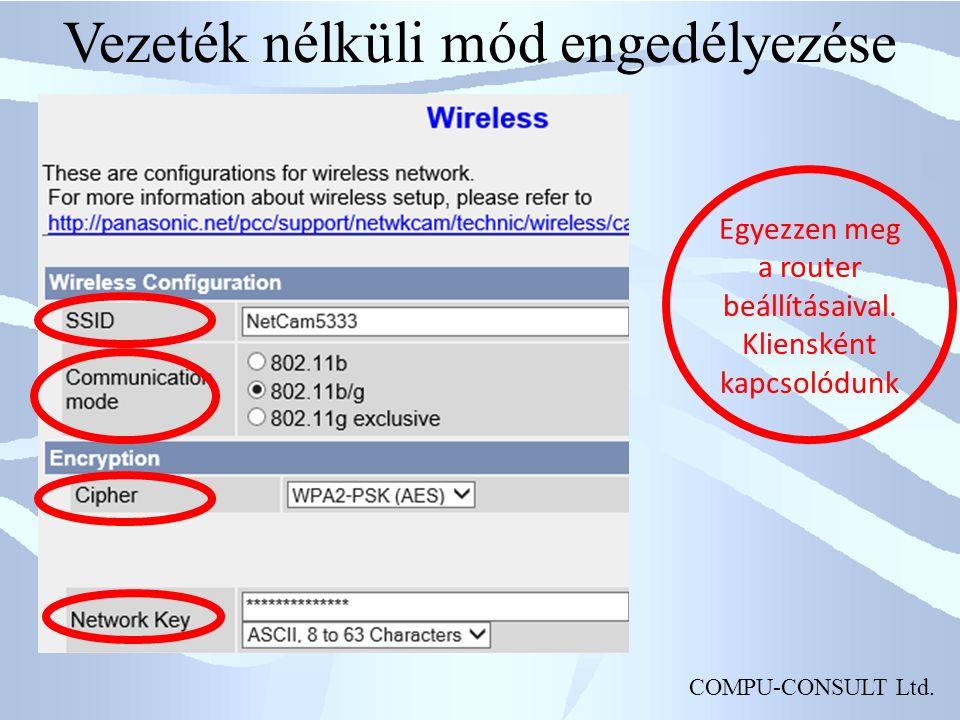 COMPU-CONSULT Ltd. Vezeték nélküli mód engedélyezése Egyezzen meg a router beállításaival.