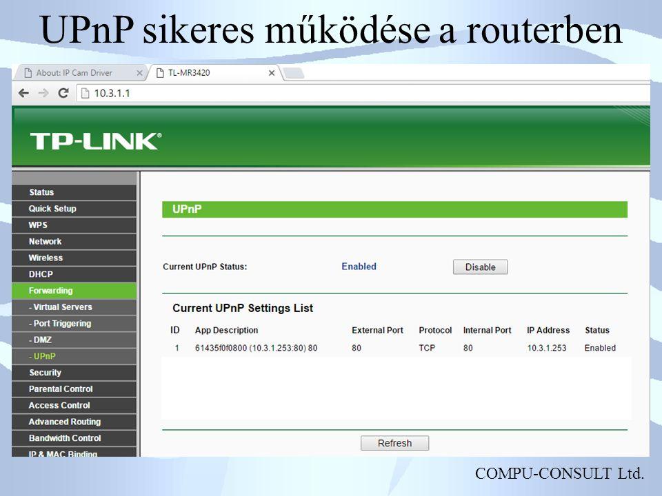 COMPU-CONSULT Ltd. UPnP sikeres működése a routerben