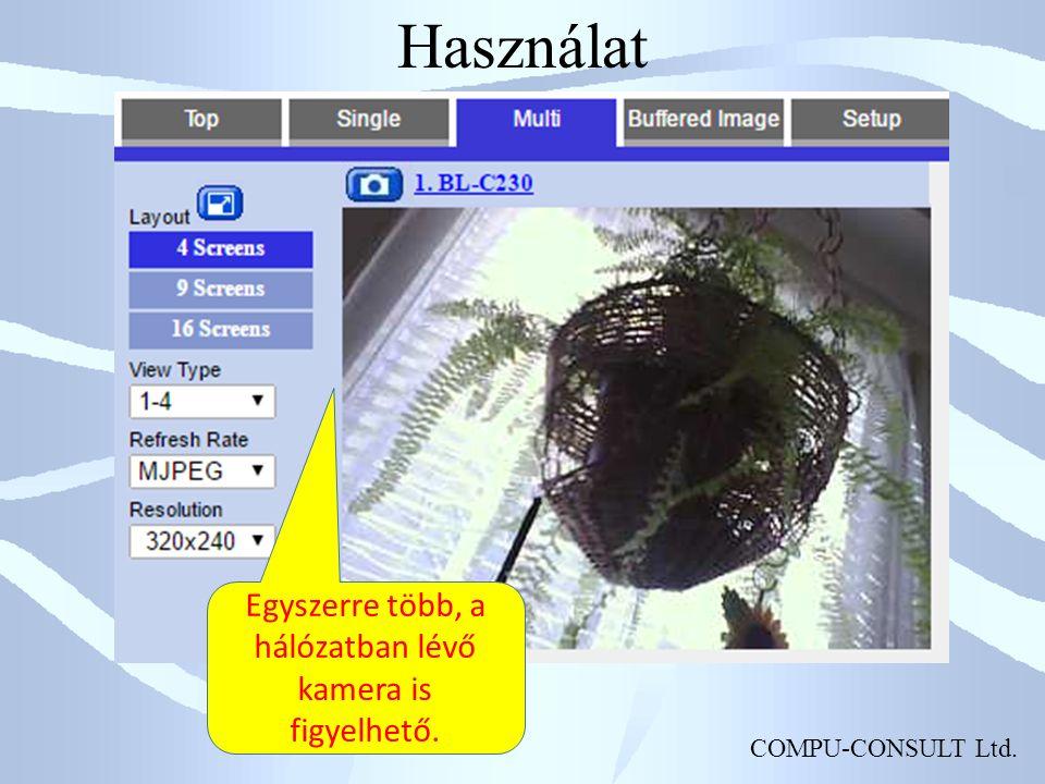 COMPU-CONSULT Ltd. Használat Egyszerre több, a hálózatban lévő kamera is figyelhető.