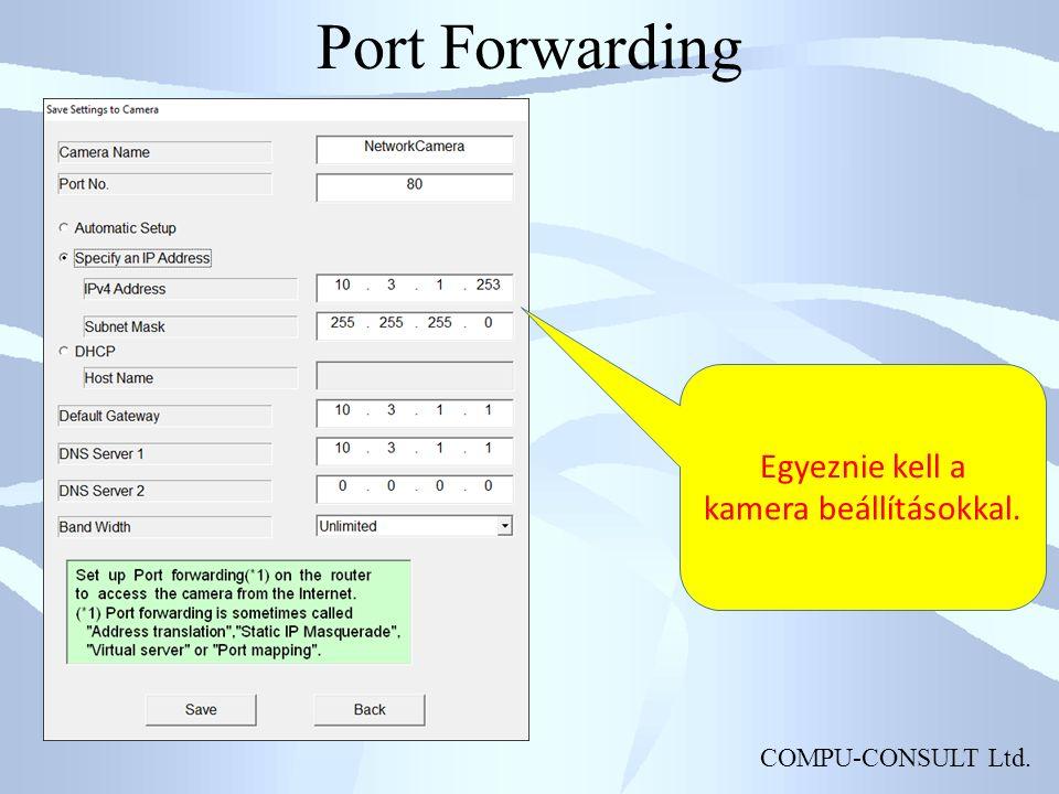 COMPU-CONSULT Ltd. Port Forwarding Egyeznie kell a kamera beállításokkal.
