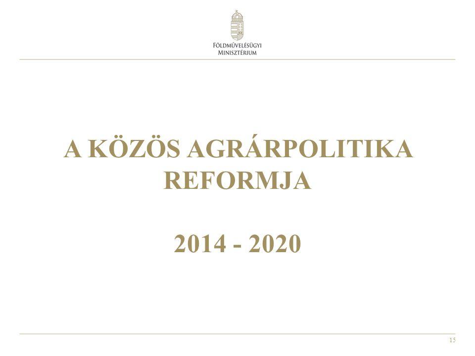15 A KÖZÖS AGRÁRPOLITIKA REFORMJA 2014 - 2020