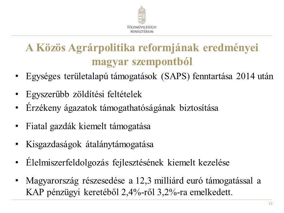 16 A Közös Agrárpolitika reformjának eredményei magyar szempontból Egységes területalapú támogatások (SAPS) fenntartása 2014 után Egyszerűbb zöldítési feltételek Érzékeny ágazatok támogathatóságának biztosítása Fiatal gazdák kiemelt támogatása Kisgazdaságok átalánytámogatása Élelmiszerfeldolgozás fejlesztésének kiemelt kezelése Magyarország részesedése a 12,3 milliárd euró támogatással a KAP pénzügyi keretéből 2,4%-ről 3,2%-ra emelkedett.