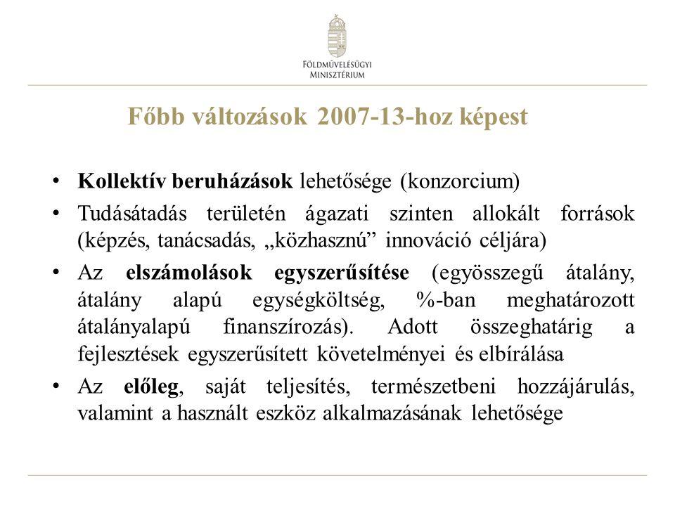 """24 Főbb változások 2007-13-hoz képest Kollektív beruházások lehetősége (konzorcium) Tudásátadás területén ágazati szinten allokált források (képzés, tanácsadás, """"közhasznú innováció céljára) Az elszámolások egyszerűsítése (egyösszegű átalány, átalány alapú egységköltség, %-ban meghatározott átalányalapú finanszírozás)."""