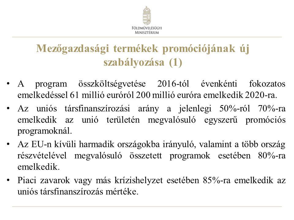 26 Mezőgazdasági termékek promóciójának új szabályozása (1) A program összköltségvetése 2016-tól évenkénti fokozatos emelkedéssel 61 millió euróról 200 millió euróra emelkedik 2020-ra.