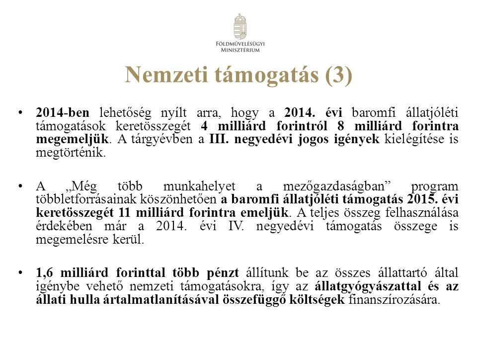 Nemzeti támogatás (3) 2014-ben lehetőség nyílt arra, hogy a 2014.