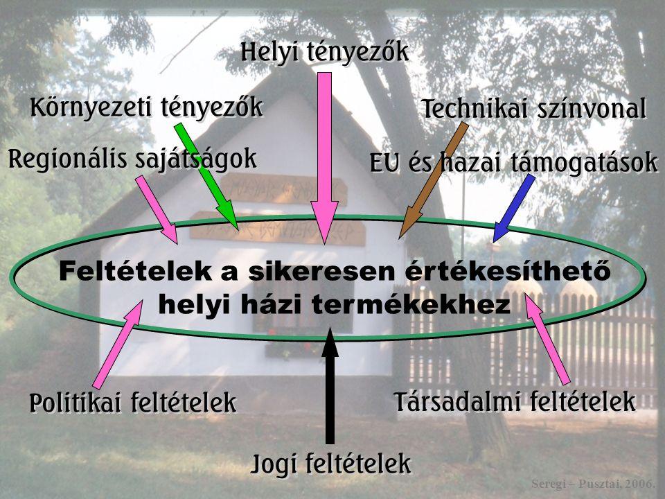Feltételek a sikeresen értékesíthető helyi házi termékekhez Politikai feltételek Regionális sajátságok Környezeti tényezők Helyi tényezők Technikai színvonal EU és hazai támogatások Társadalmi feltételek Jogi feltételek Seregi – Pusztai, 2006.