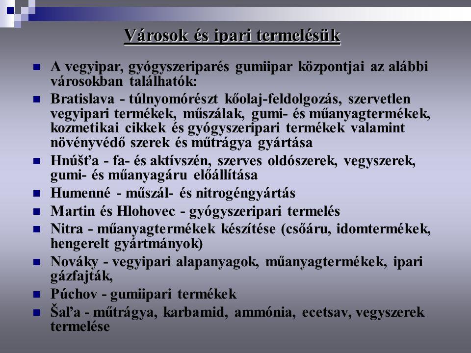 A vegyipar, gyógyszeriparés gumiipar központjai az alábbi városokban találhatók: Bratislava - túlnyomórészt kőolaj-feldolgozás, szervetlen vegyipari t