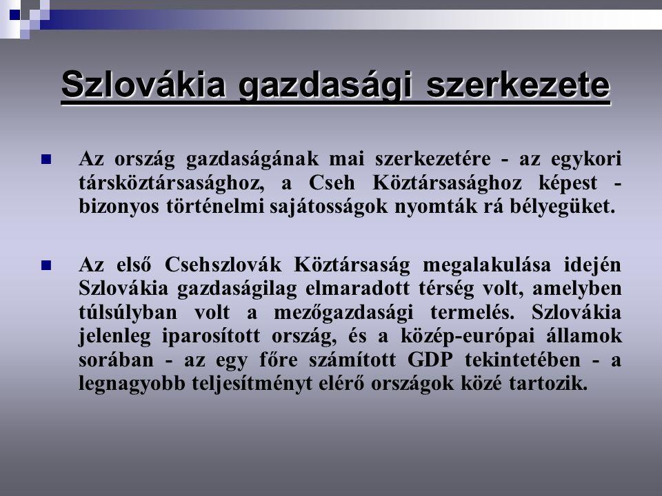 Szlovákia gazdasági szerkezete Szlovákia gazdasági szerkezete Az ország gazdaságának mai szerkezetére - az egykori társköztársasághoz, a Cseh Köztársa