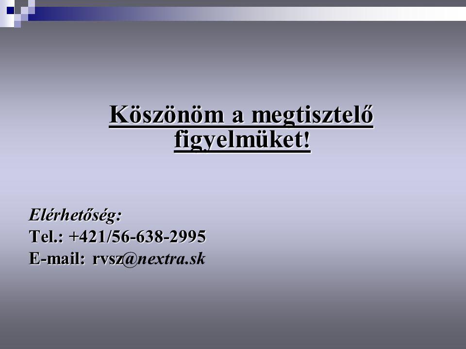 Köszönöm a megtisztelő figyelmüket ! Elérhetőség: Tel.: +421/56-638-2995 E-mail: rvsz E-mail: rvsz@nextra.sk
