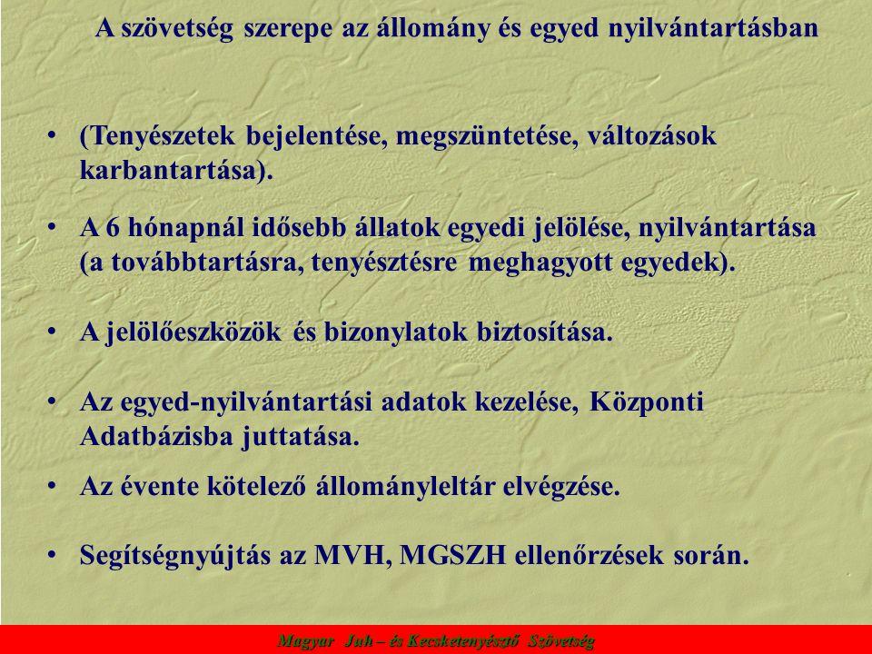 Magyar Juh – és Kecsketenyésztő Szövetség A szövetség szerepe az állomány és egyed nyilvántartásban (Tenyészetek bejelentése, megszüntetése, változások karbantartása).