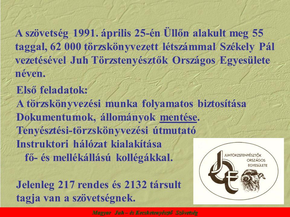 A szövetség 1991. április 25-én Üllőn alakult meg 55 taggal, 62 000 törzskönyvezett létszámmal Székely Pál vezetésével Juh Törzstenyésztők Országos Eg