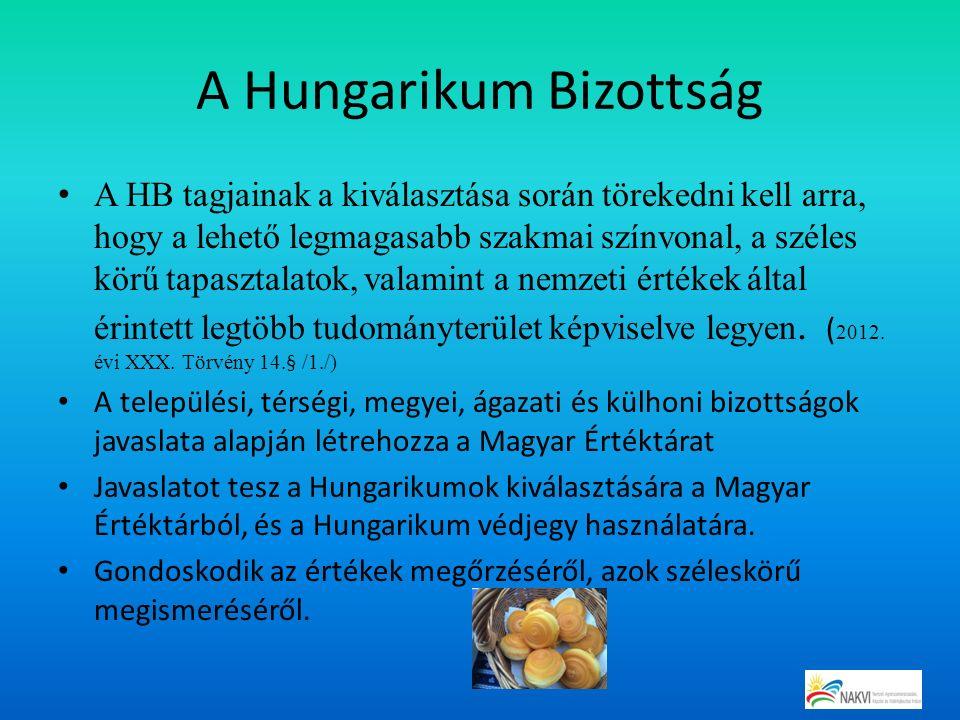 A Hungarikum Bizottság A HB tagjainak a kiválasztása során törekedni kell arra, hogy a lehető legmagasabb szakmai színvonal, a széles körű tapasztalat