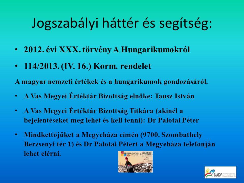 Jogszabályi háttér és segítség: 2012. évi XXX. törvény A Hungarikumokról 114/2013. (IV. 16.) Korm. rendelet A magyar nemzeti értékek és a hungarikumok