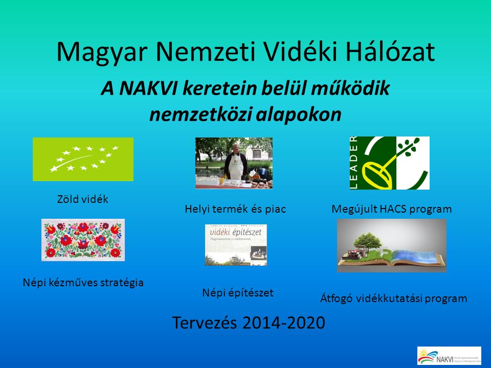 Magyar Nemzeti Vidéki Hálózat A NAKVI keretein belül működik nemzetközi alapokon Zöld vidék Helyi termék és piacMegújult HACS program Népi kézműves stratégia Népi építészet Átfogó vidékkutatási program Tervezés 2014-2020