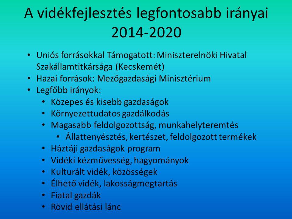 A vidékfejlesztés legfontosabb irányai 2014-2020 Uniós forrásokkal Támogatott: Miniszterelnöki Hivatal Szakállamtitkársága (Kecskemét) Hazai források: