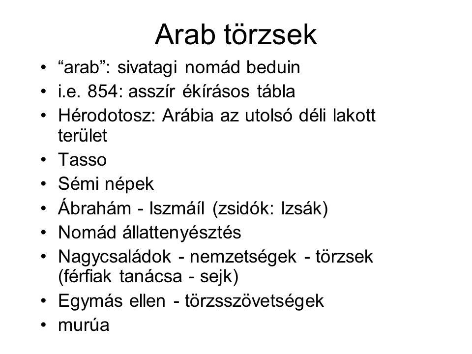 Arab törzsek arab : sivatagi nomád beduin i.e.
