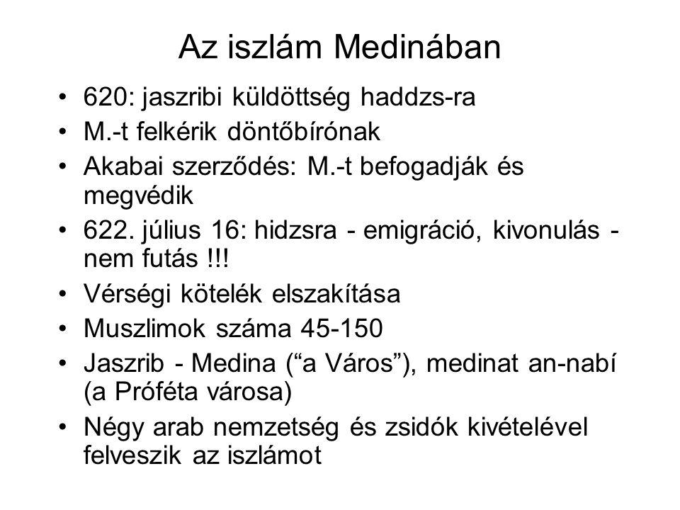 Az iszlám Medinában 620: jaszribi küldöttség haddzs-ra M.-t felkérik döntőbírónak Akabai szerződés: M.-t befogadják és megvédik 622.