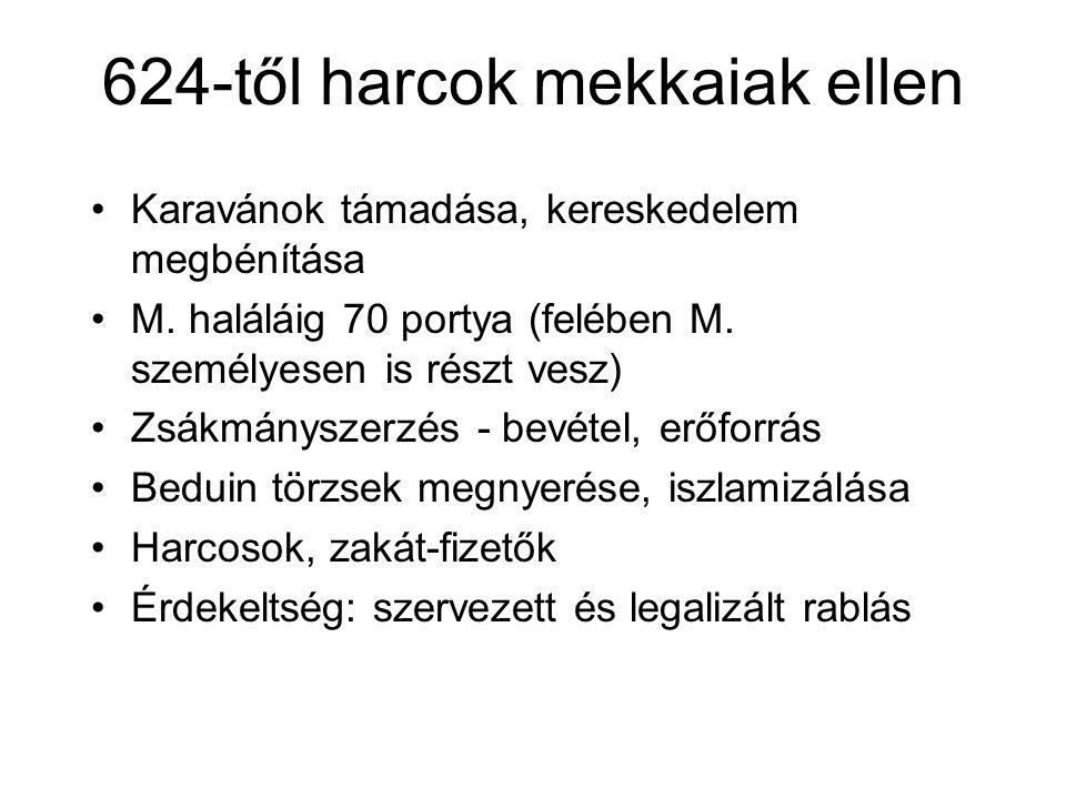 624-től harcok mekkaiak ellen Karavánok támadása, kereskedelem megbénítása M.