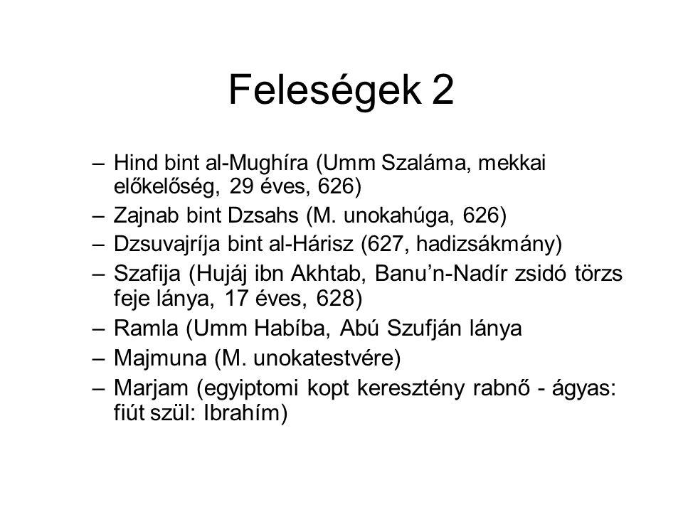 Feleségek 2 –Hind bint al-Mughíra (Umm Szaláma, mekkai előkelőség, 29 éves, 626) –Zajnab bint Dzsahs (M.