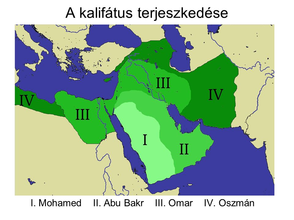 A kalifátus terjeszkedése I. Mohamed II. Abu Bakr III. Omar IV. Oszmán