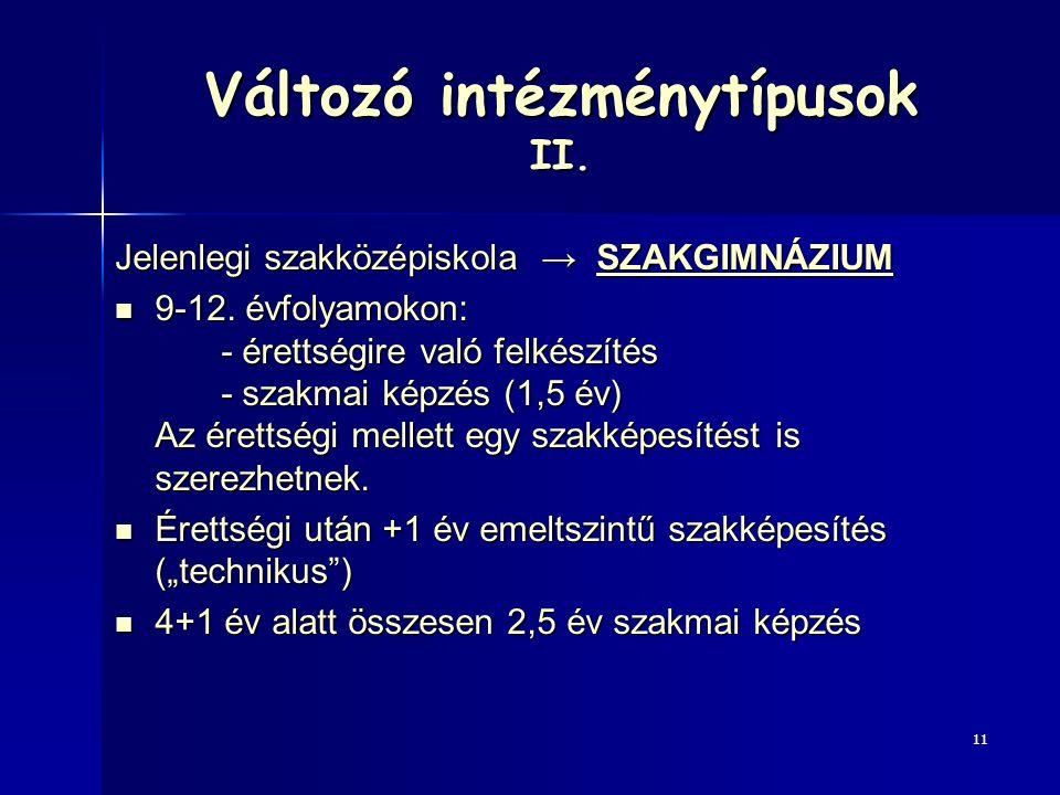Változó intézménytípusok II.Jelenlegi szakközépiskola → SZAKGIMNÁZIUM 9-12.