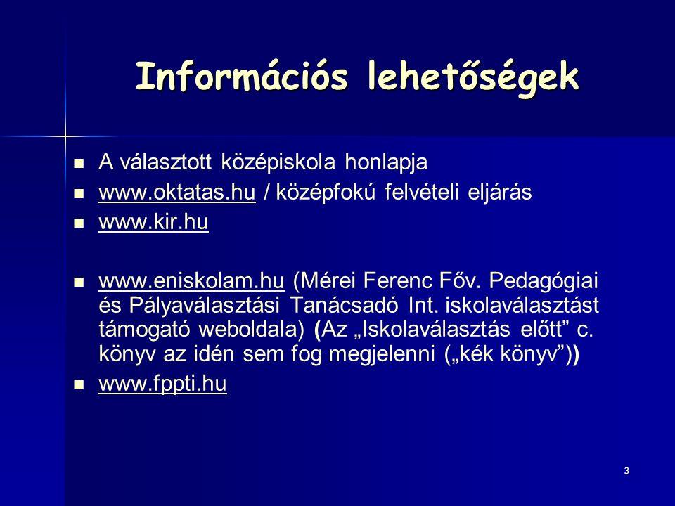 Információs lehetőségek A választott középiskola honlapja www.oktatas.hu / középfokú felvételi eljárás www.oktatas.hu www.kir.hu www.eniskolam.hu (Mérei Ferenc Főv.