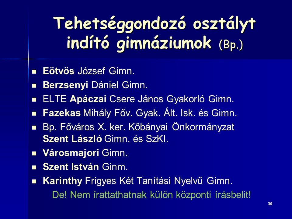 Tehetséggondozó osztályt indító gimnáziumok (Bp.) Eötvös József Gimn.