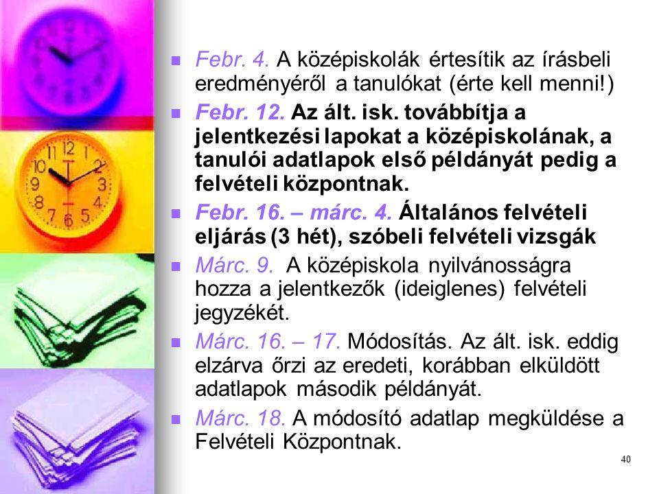 Febr.4. A középiskolák értesítik az írásbeli eredményéről a tanulókat (érte kell menni!) Febr.