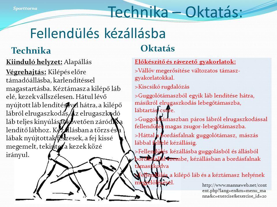 Technika – Oktatás: Fellendülés kézállásba Technika Oktatás Kiinduló helyzet: Alapállás Végrehajtás: Kilépés előre támadóállásba, karlendítéssel magastartásba.