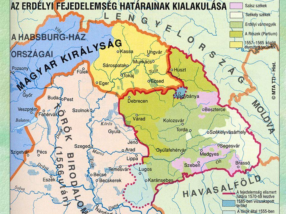  Erdély külpolitikailag  független  hűbérura a szultán  védnökség, 10 ezer Ft évi adó  A belpolitikába a Porta nem szól bele  1556-tól önálló fejedelemválasztási joggal rendelkezik  szultáni jóváhagyás  Kiváltsággal rendelkezők  1437 - kápolnai unió  magyar vármegyék, székely és szász székek Államszervezet - rendi felépítés
