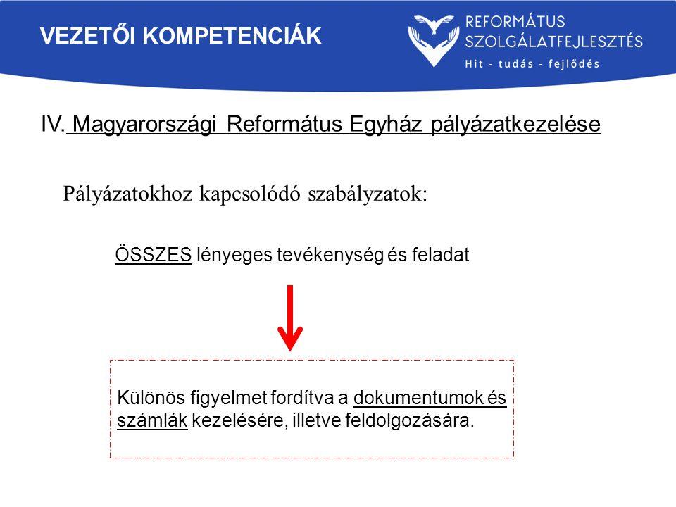 IV. Magyarországi Református Egyház pályázatkezelése VEZETŐI KOMPETENCIÁK Pályázatokhoz kapcsolódó szabályzatok: Különös figyelmet fordítva a dokument
