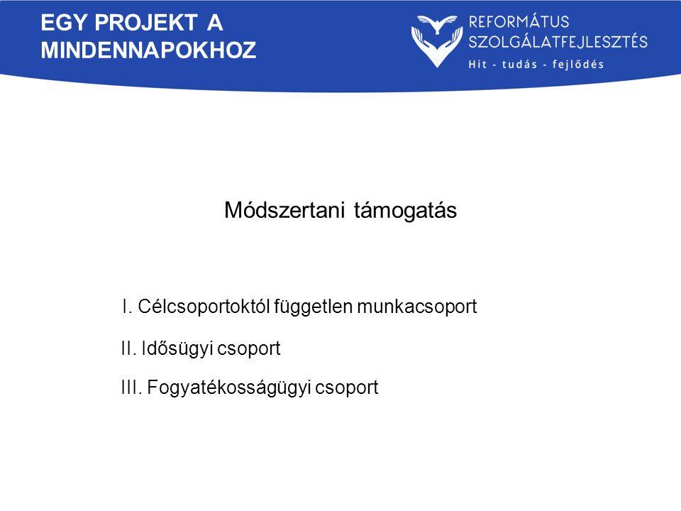EGY PROJEKT A MINDENNAPOKHOZ Módszertani támogatás I. Célcsoportoktól független munkacsoport II. Idősügyi csoport III. Fogyatékosságügyi csoport