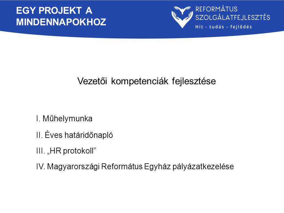 """EGY PROJEKT A MINDENNAPOKHOZ Vezetői kompetenciák fejlesztése I. Műhelymunka II. Éves határidőnapló III. """"HR protokoll"""" IV. Magyarországi Református E"""