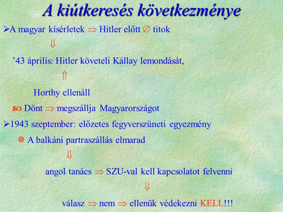  A magyar kísérletek  Hitler előtt  titok  '43 április: Hitler követeli Kállay lemondását,  Horthy ellenáll  Dönt  megszállja Magyarországot  1943 szeptember: előzetes fegyverszüneti egyezmény  A balkáni partraszállás elmarad  angol tanács  SZU-val kell kapcsolatot felvenni  válasz  nem  ellenük védekezni KELL!!.