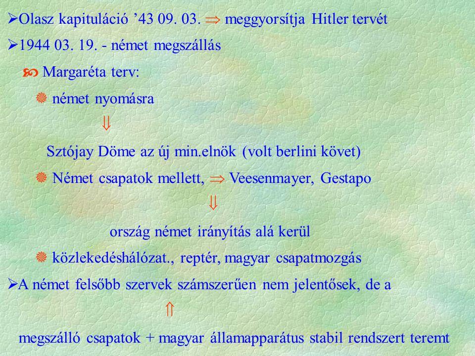  Olasz kapituláció '43 09. 03.  meggyorsítja Hitler tervét  1944 03.